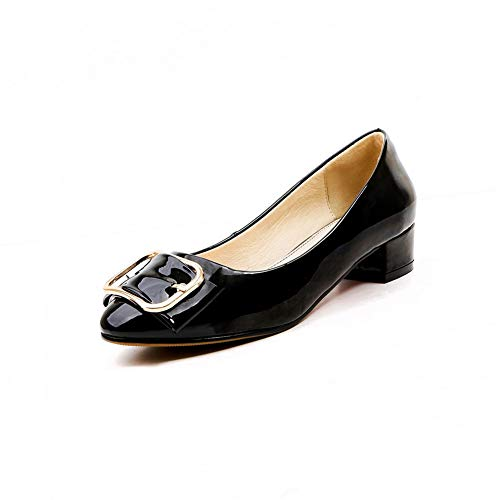 BalaMasa Womens Beaded Structured Solid Urethane Pumps Shoes APL11064 Black