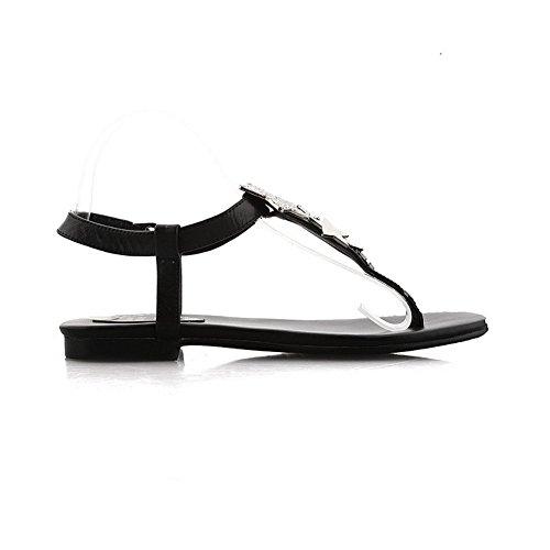 AmoonyFashion Womens Buckle Low-heels Cow Leather Solid Split-Toe Sandals Black siGKlyT