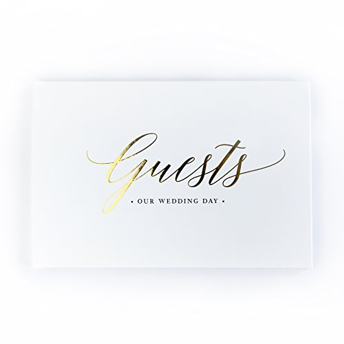 please + thanks Gold Foil Wedding Guest Book, White Casebound Hardcover, 50 Acid-Free Blank White Interior Sheets (100 Total Pages) (9 x 6 Inch) by please + thanks