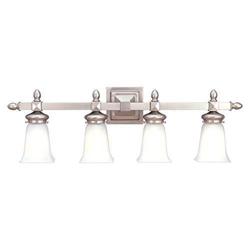 Hudson Valley Lighting Cumberland 4-Light Vanity Light - Satin Nickel Finish with Frosted Glass Shade by Hudson Valley Lighting (Cumberland Four Light)