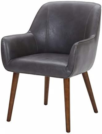 Amazon Brand Rivet Julie Mid-Century Modern Faux Leather Slope Accent Kitchen Dining Room Chair