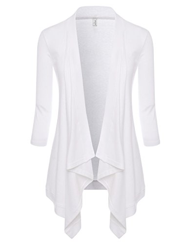 NEARKIN (NKNKWCD6927) Womens Open Front Slim Cut Look Daily Casual 3/4 Sleeve Cardigans WHITE US XL(Tag size 2XL) Roll Sleeve Cardigan