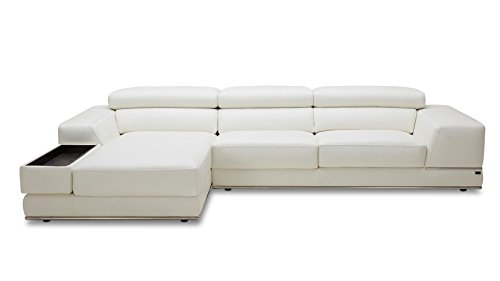 Zuri Furniture Encore White Leather Sofa - Left Chaise