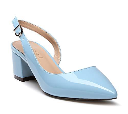 3846d2d25dbab SUNETEDANCE Women's Slingback Chunky Block Heel Pumps Pointed Toe Kitten  Heels Slip On Low Heel Sandals 5CM Heels Patent Light Blue Pump 10.5 M US