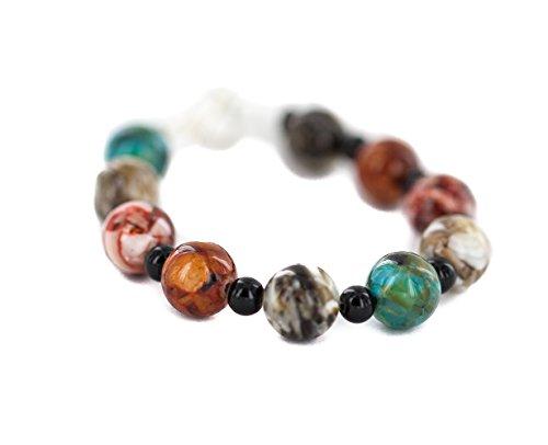 $90 Retail Tag Authentic Nickel Navajo Natural Black Onyx Multicolor Stones Native American Bracelet -