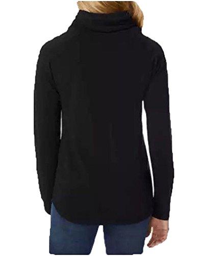 Funnelneck Pullover Tunic Sweatshirt (Black, XXL)