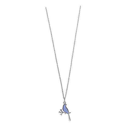 Boma Jewelry Sterling Silver Purple Resin Bird Necklace, 16 inches