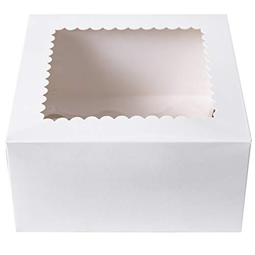 [25Pack]CHERRY White Cake Boxes 8 X 8 X 4 inch, Kraft Paperboard Bakery Pie Box with Auto-Popup Window (Pack of 25)