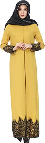 Ababalaya Women's Modest Muslim Islamic Long Sleeve Button Down Lace Long Abaya Dress,Yellow,Tag Size XL = US Size 12-14 by Ababalaya