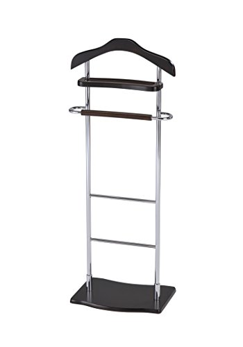 InRoom Designs CH-4181 Kings Brand Chrome Finish Wood and Metal Suit Valet Rack Stand Organizer, Walnut by InRoom Designs
