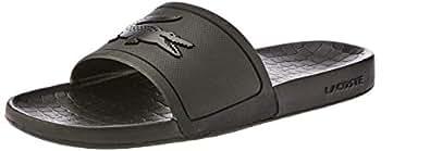 Lacoste Men's FRAISIER Slides Fashion Sandals, Black, 7 US