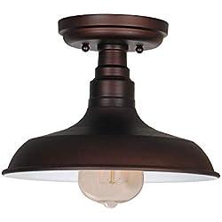 Design House 519884 Kimball 1 Light Semi Flush Mount Ceiling Light, Bronze