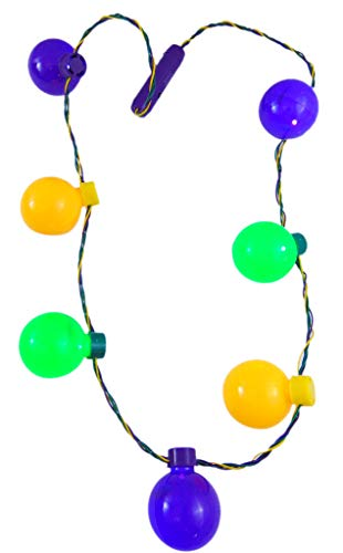 Shawshank Mardi Gras Flashing Light Up Lightbulb Bead Necklace in Colors Golden, Purple & Green -