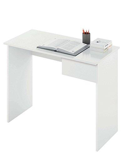 Abitti Escritorio Mesa de Ordenador Multimedia Color Blanco con cajon para Oficina, despacho o Estudio. 90cm Ancho x 75cm Altura x 50cm Fo