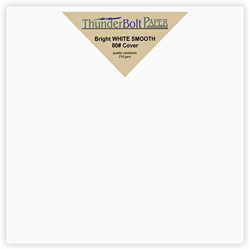 "100 Bright White Smooth 80# Card Paper Sheets - 6"" X 6"" (6X6 Inches) Square Album Picture Frame Size - 80 lb/pound Cover Weight - Quality Paper - Consistency in Print - Smooth Finish"