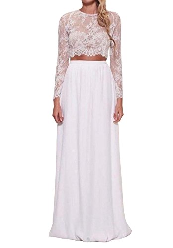 Dreammade Women's Two Pieces Wedding Dresses Chiffon Spring Lace Long Sleeve Party Dress (8, White)