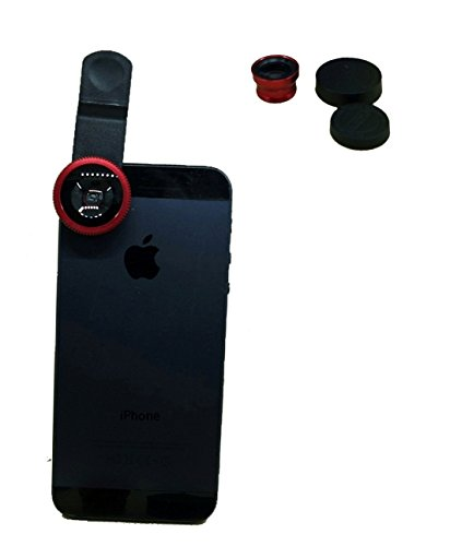 3-in-1 Clip Lens for Mobile Phones and Tablets Set of 2 (Red) - 4