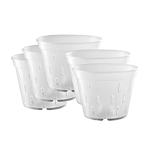 YIKUSH 5.5 inch 5 Pack Orchid Clear Flower Pot Plastic Planter Breathable Slotted