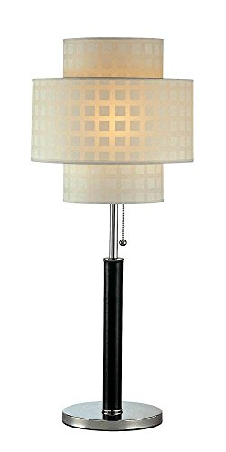 Lite Source LS-20290 Olina Table Lamp, Leather Pole with White Grid Pattern Shade, Brown