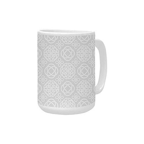 Celtic Decor Ceramic Mug,Tribal Celtic Knots Eternity Forms Pattern Boho Decor Ireland Irish Cross Floral Artprint for Home,15OZ