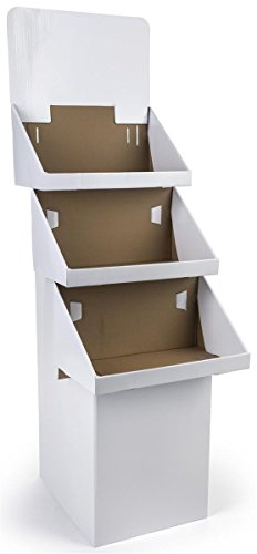 Set of 3, 3-Tier Bin Displays for Floor, Includes Removable Header, Ship Flat, 65.75