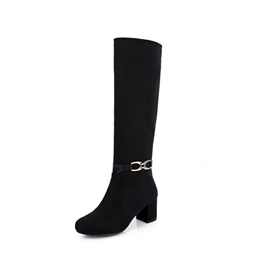 Black Closed Kitten AmoonyFashion Solid Heels Women's High Boots Toe Top Round ZSvnZx74wq