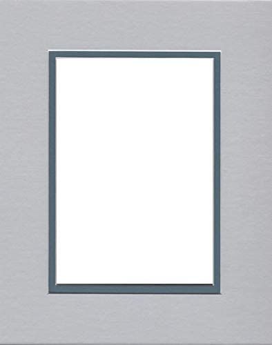 Pack of 8x10 Acid Free White Core Picture Mats Cut for 5x7 Pictures in Ocean Grey 5