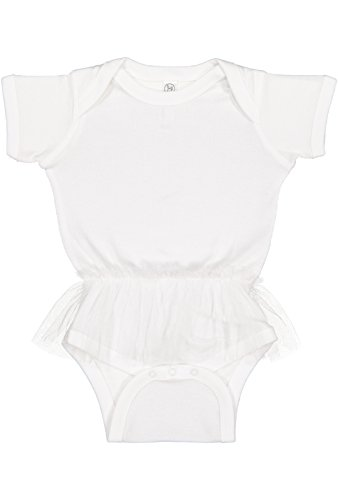 Rabbit Skins Infant Girls' 100% Cotton Lap Shoulder Short Sleeve Bodysuit with Nylon Tulle Tutu (White, (Cotton Nylon Suit)