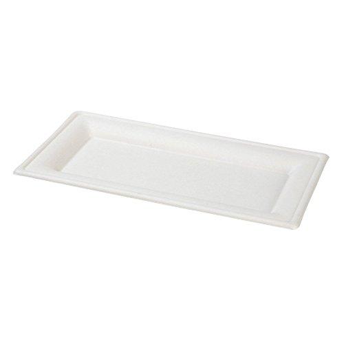 BIOZOYG 50x Plato desechable caña de azúcar (bagazo) | 26x13cm, Rectangular | 100% Biodegradable, compostable | materias primas renovables | Estable y ...