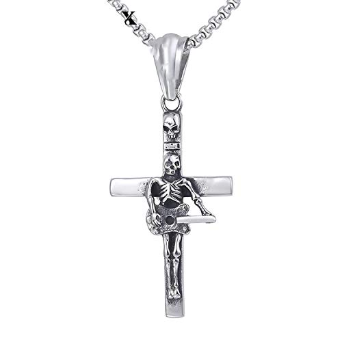 Guitar Skull Cross Pendant Necklace Gothic Mens Chain 316l Stainless Steel Box Link Silver 18-36inch,45cm