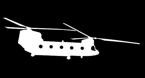 Boeing Eagle F15 - Auto Vynamics - MILITARY-PLANECHOPPER09-5-WHI - Matte White Vinyl Military Plane / Helicopter Silhouette Decal - Boeing CH-47 Chinook Helicopter Design - 5-by-1.5-inches - (1) Piece Kit - Single Decal