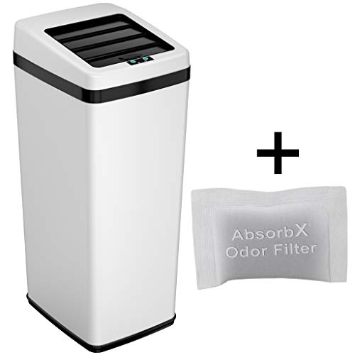 iTouchless 14 Gallon Sliding Lid Touchless Sensor Trash Can with Odor Control System, White Steel, 53 Liter Automatic Garbage Bin for Kitchen and Office (Retro Kitchen Garbage Can)