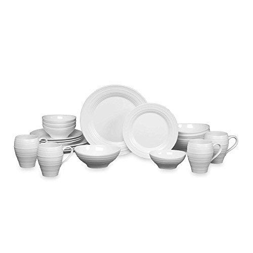 Mikasa Swirl 20-pc. Dinnerware Set-One Size,WHITE