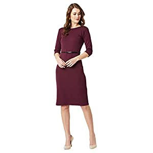 Miss Chase Women's Wine Red Belted Bodycon Midi Dress