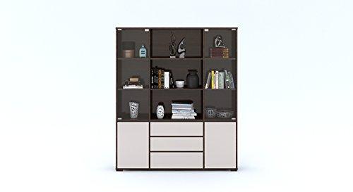 Urban Ladder Iwaki Bookshelf with Glass Door and 3 Drawer  Finish : Dark Walnut, Book Capacity : 110 Book