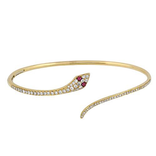 (Women's 14k Yellow Gold Snake Shaped Cuff Bangle 0.58ct Round Ruby & Diamond Bangles)