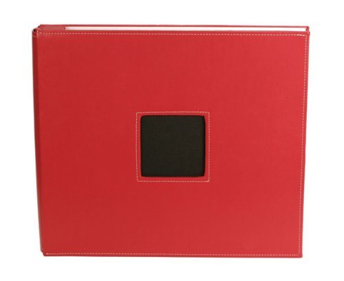(American Crafts 12-Inch by 12-Inch Leather Postbound Album, Red)