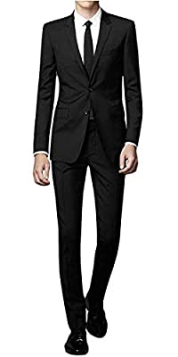 WEEN CHARM Men's Slim Fit 2-Piece Suit One Button Blazer Wedding Tuxedo Single Breasted Jacket Pants Set