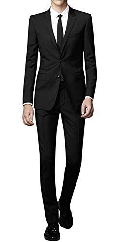 WEEN CHARM Men's Suit Slim Fit 2-Piece Two Buttons Coat Tuxedo Single Breasted Jacket Business Wedding Blazer Black