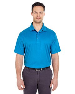 Ultraclub Mens Cool & Dry Elite Mini-Check Jacquard Polo 8305 -Pacific Blue L