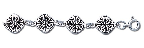 0.925 Sterling Silver 6in - 9in Irish Celtic Love Knot Bracelet (8 inch)