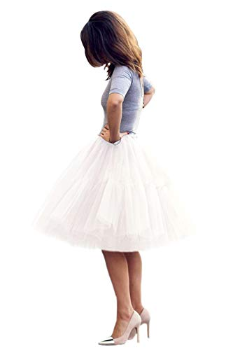 Classic Women's 5 Layers Tulle Prom Party Tutu Skirt(White,One Size)