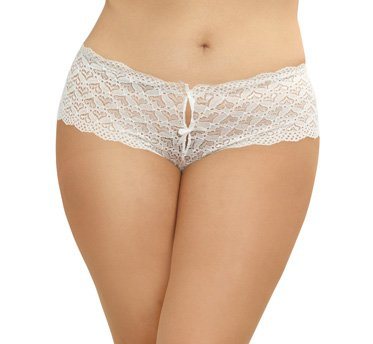 Dreamgirl Women's Plus Size White Lace Panty with Heart Cutout Back - 3X