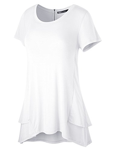 FACA Womens Double Layer Hem Short Sleeve Tunic Top (X-Large, White) (Layers Clothing)