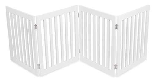 - Internet's Best Traditional Pet Gate | 4 Panel | 24 Inch Step Over Fence | Free Standing Folding Z Shape Indoor Doorway Hall Stairs Dog Puppy Gate | White | MDF