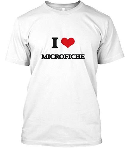 I Love microfiche M - White Tshirt - Hanes Tagless Tee