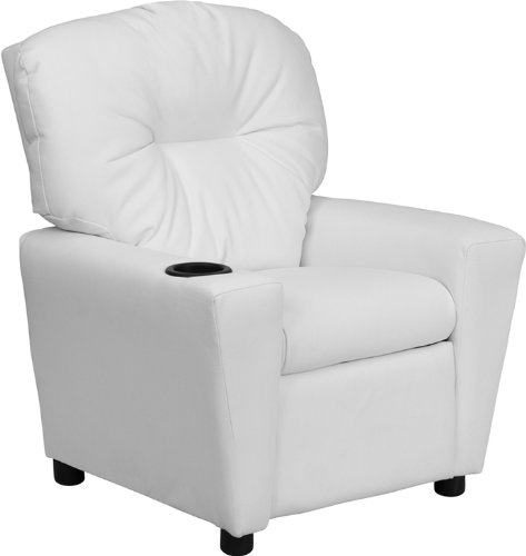 Flash Furniture Contemporary White Vinyl Kids Recliner with Cup Holder by Flash Furniture