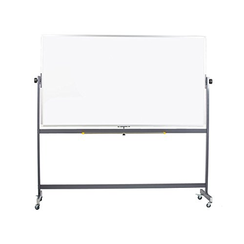 Pearington WB-AP001 Mobile Reversible Magnetic White Dry Erase Board with Aluminum Frame, 72'' W x 40'' H by Pearington