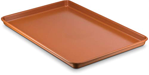 - Ceramic Coated Cookie Sheet - Premium Nonstick Copper Coating Even Baking, Dishwasher and Oven Safe 425 F - PTFE/PFOA Free