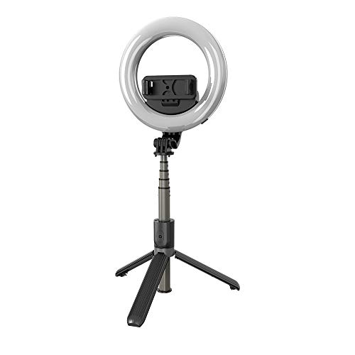 EKUPUZ L07 Selfie LED Ring Fill Light with FoldableTripod and Cell Phone Holder Wireless Bluetooth Selfie Stick for Selfie/TV/Live